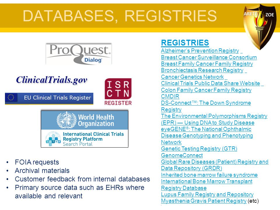 DATABASES, REGISTRIES REGISTRIES FOIA requests Archival materials