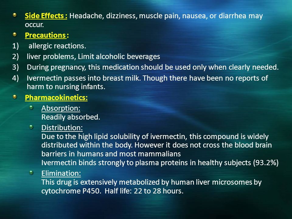Side Effects : Headache, dizziness, muscle pain, nausea, or diarrhea may occur.