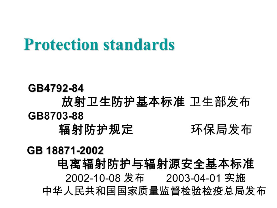 Protection standards 辐射防护规定 环保局发布 GB4792-84 GB8703-88 GB 18871-2002