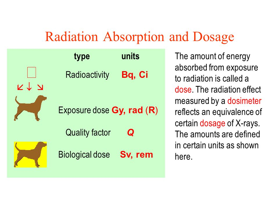 Radiation Absorption and Dosage