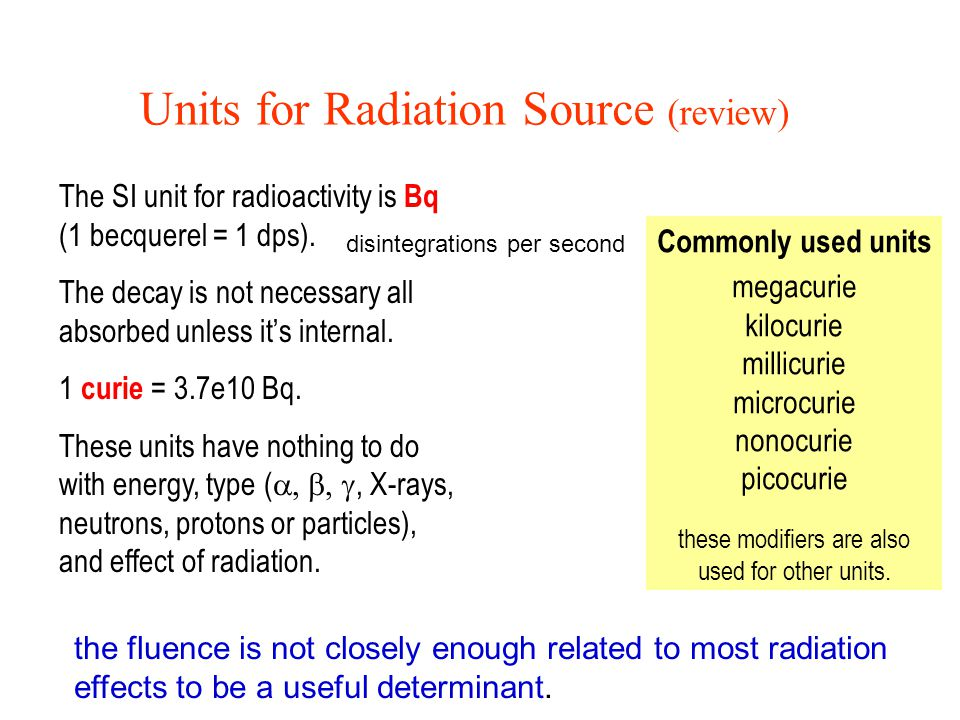 Units for Radiation Source (review)