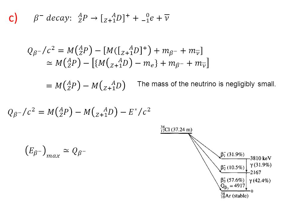 c) The mass of the neutrino is negligibly small.