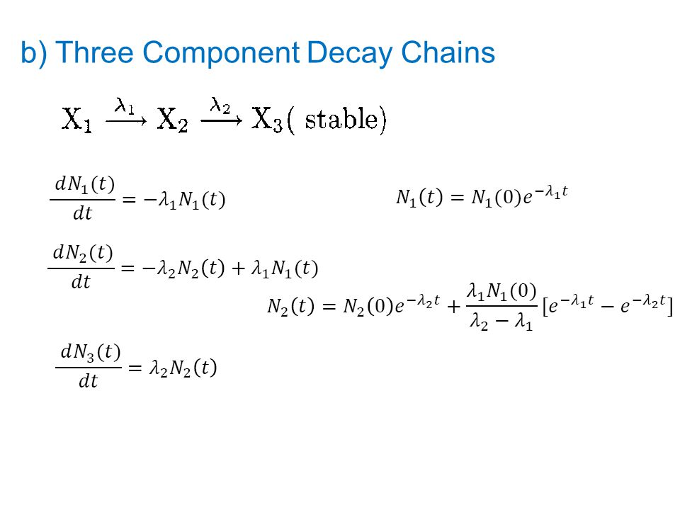 b) Three Component Decay Chains