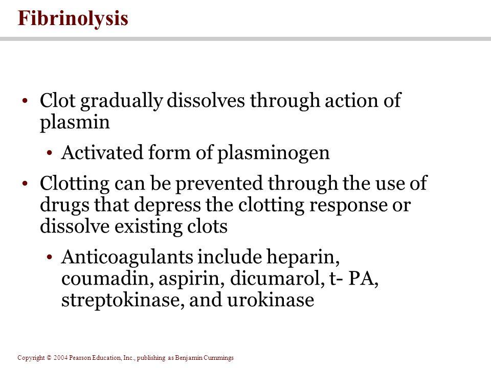 Fibrinolysis Clot gradually dissolves through action of plasmin