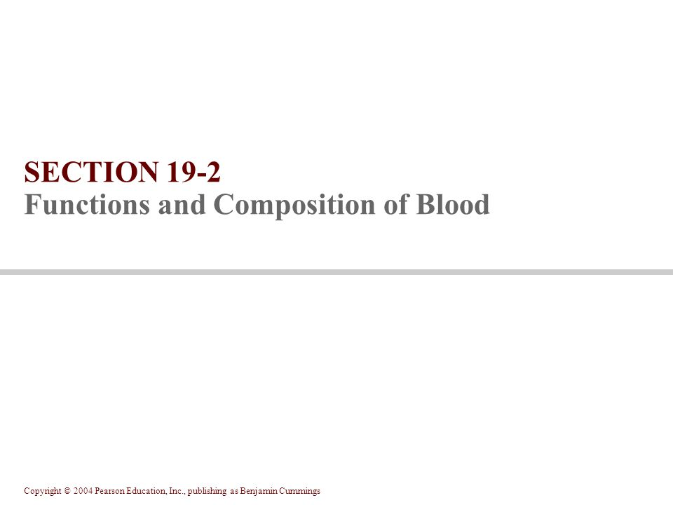 SECTION 19-2 Functions and Composition of Blood