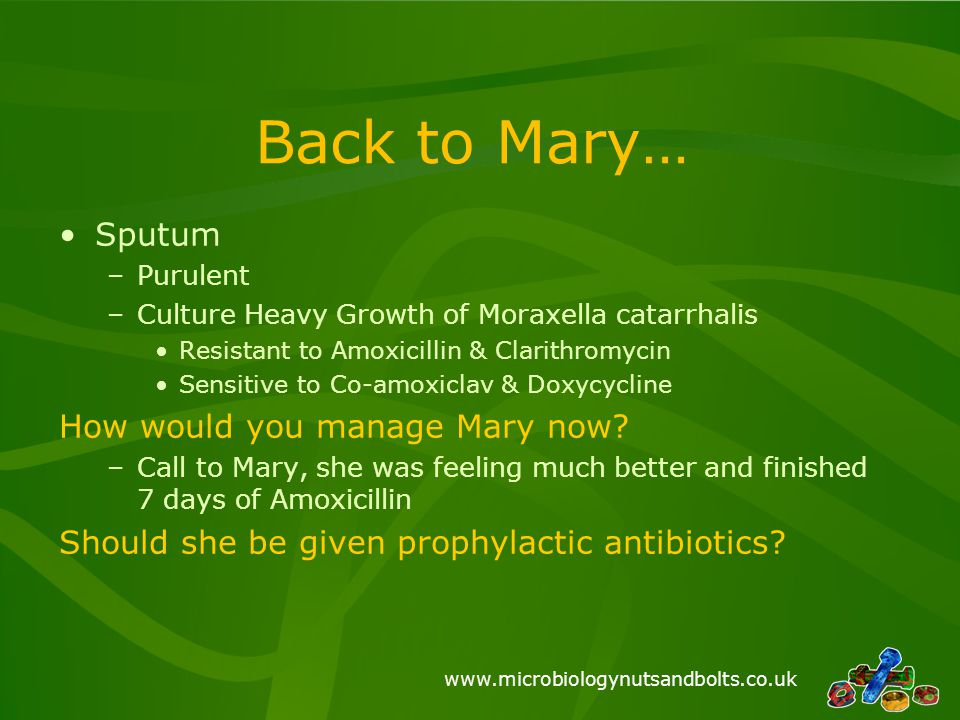Back to Mary… Sputum How would you manage Mary now