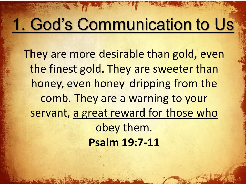1. God's Communication to Us