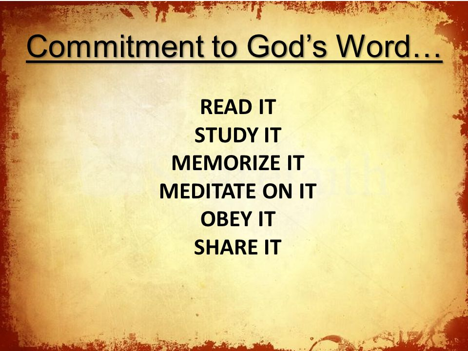 Commitment to God's Word…