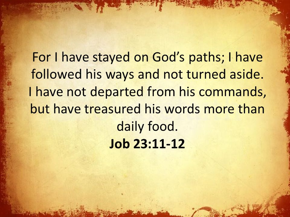 For I have stayed on God's paths; I have followed his ways and not turned aside. I have not departed from his commands, but have treasured his words more than daily food.