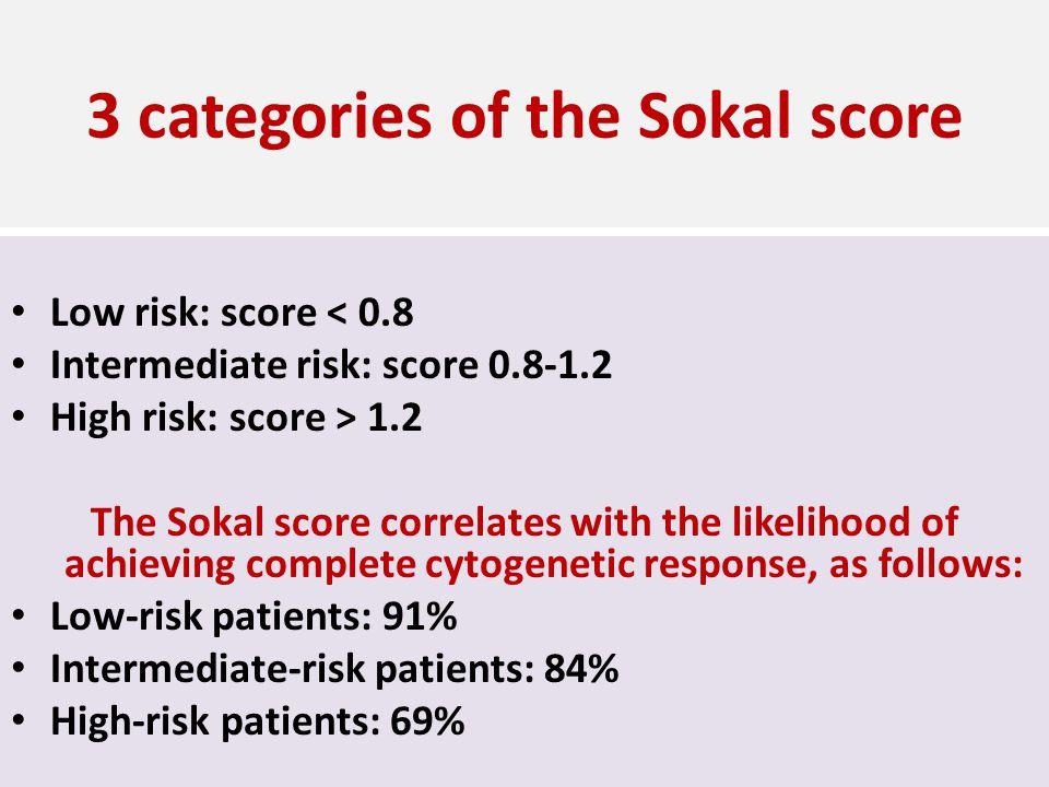 3 categories of the Sokal score