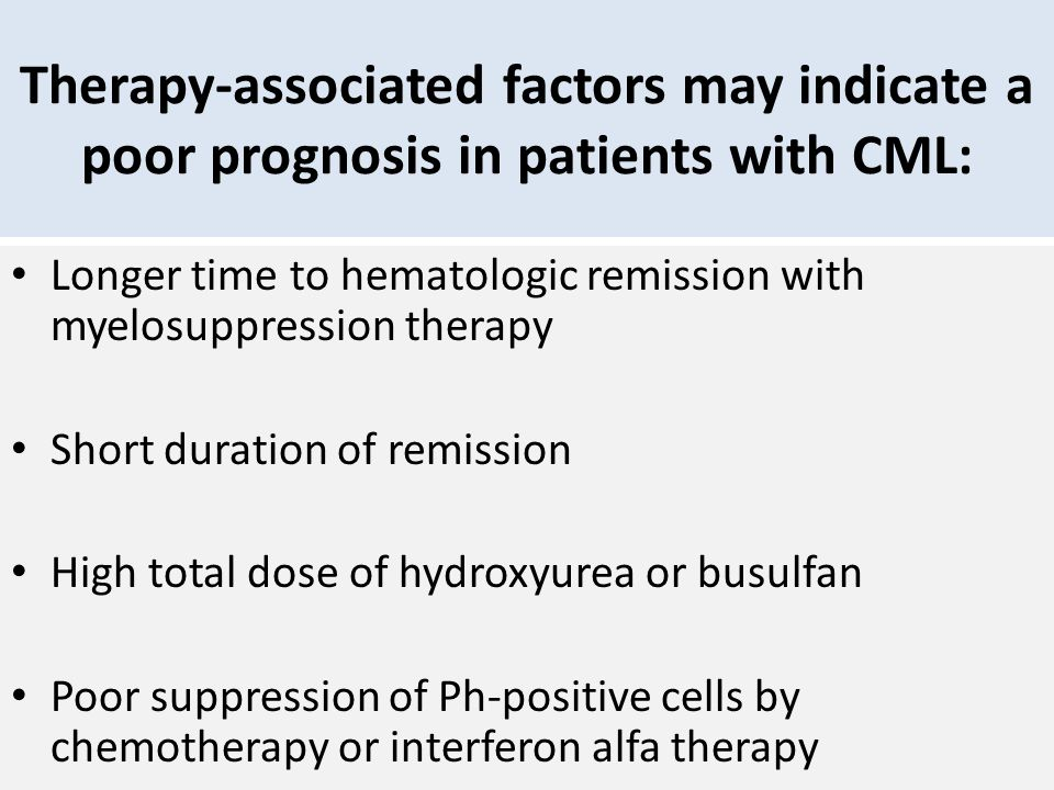 Therapy-associated factors may indicate a poor prognosis in patients with CML: