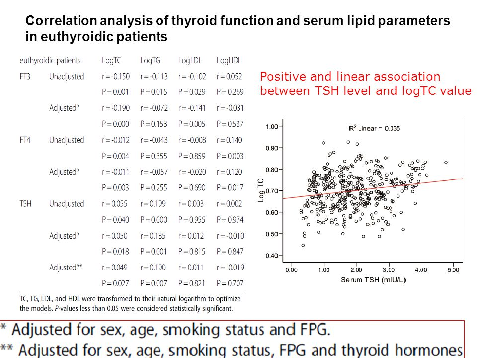 Correlation analysis of thyroid function and serum lipid parameters in euthyroidic patients