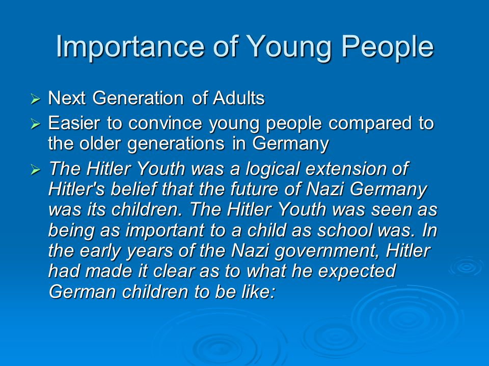 Importance of Young People