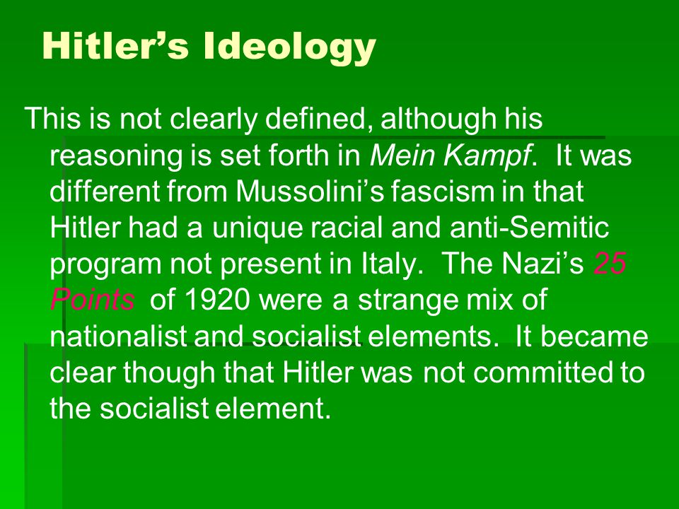 hitlers ideology In hitler's view, all groups, races,  undesirable racial traits contaminated the purity of the  nazi ideology  nazi ideology  nazi ideology and the holocaust.