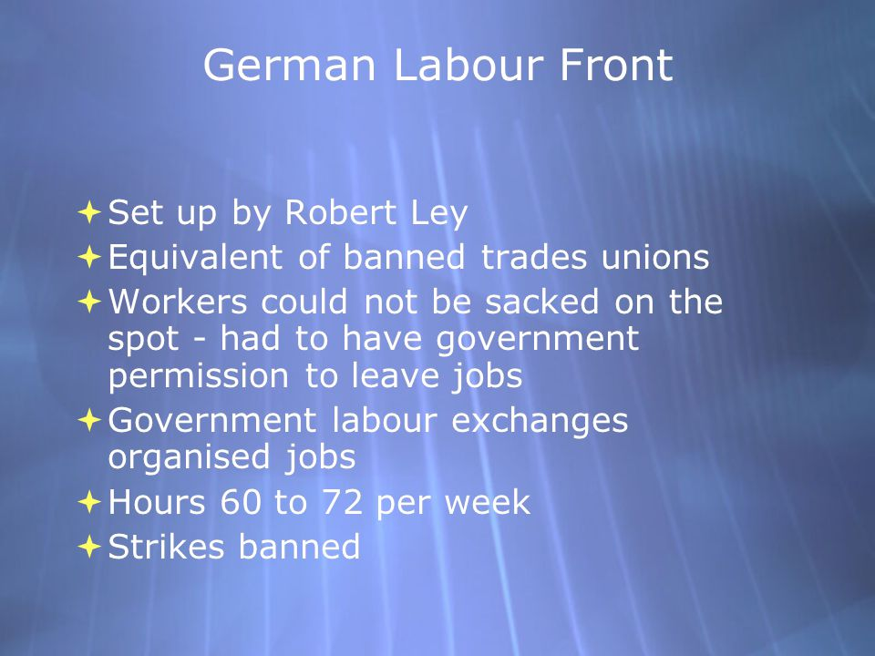 German Labour Front Set up by Robert Ley