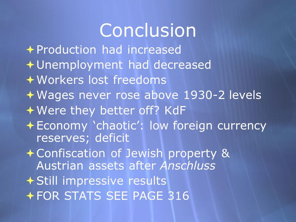 Conclusion Production had increased Unemployment had decreased