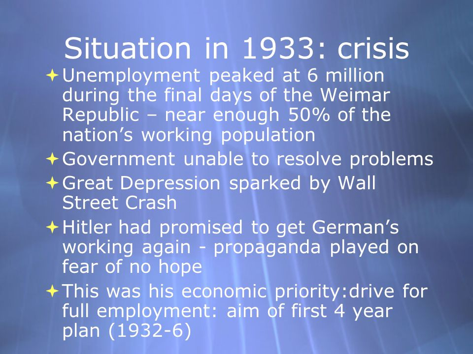 Situation in 1933: crisis
