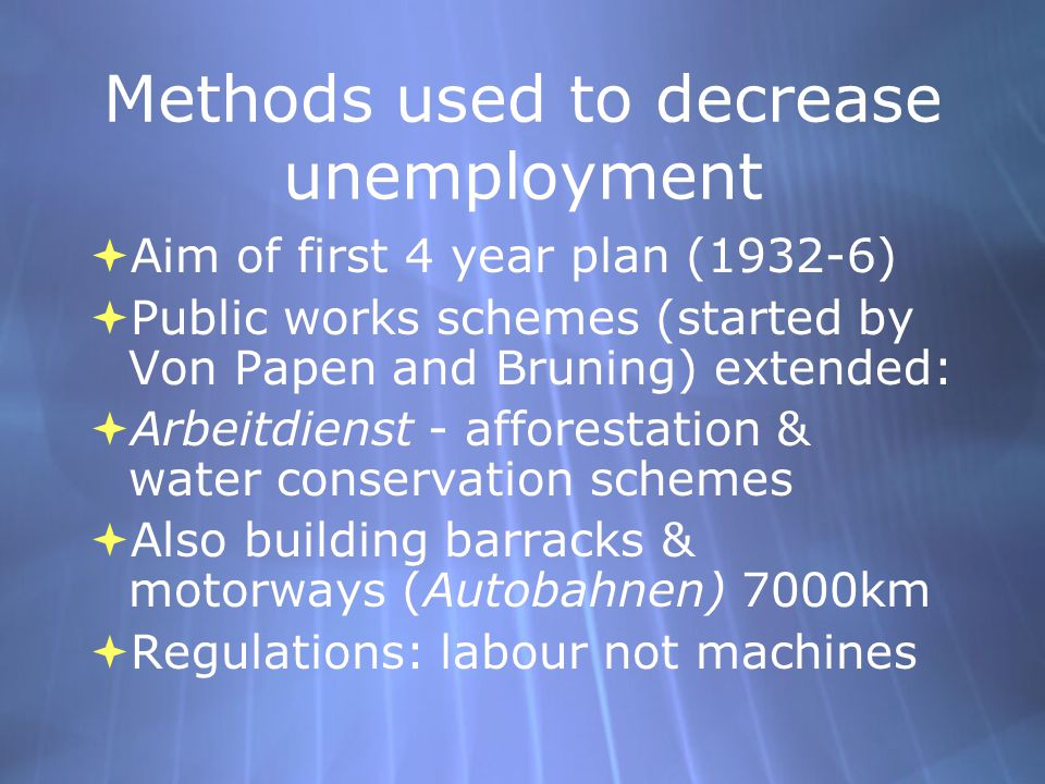 Methods used to decrease unemployment