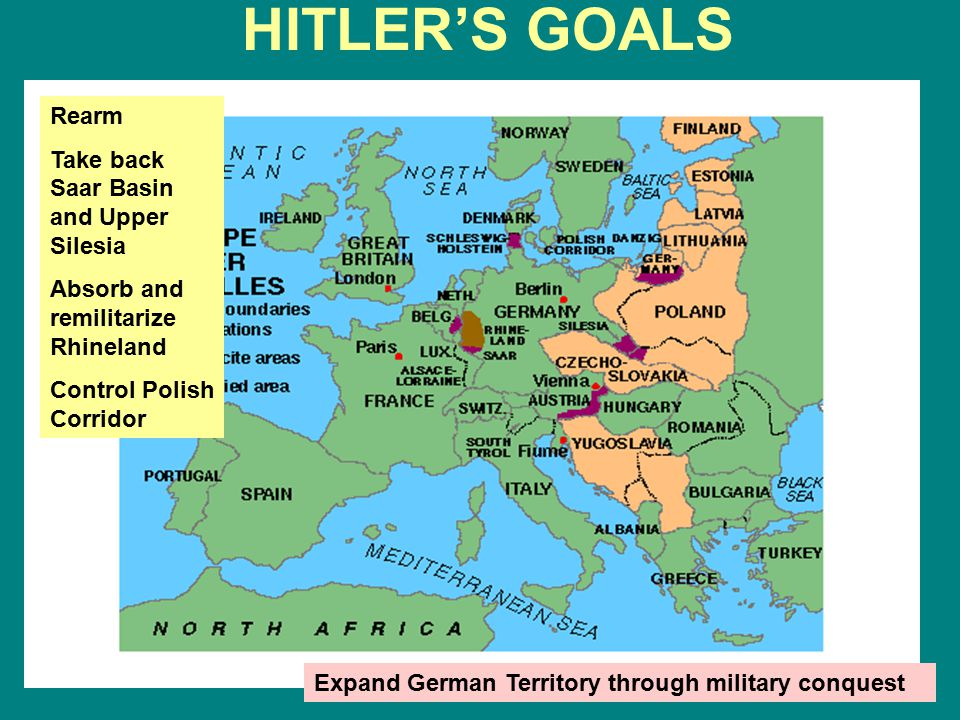 HITLER'S GOALS Rearm Take back Saar Basin and Upper Silesia