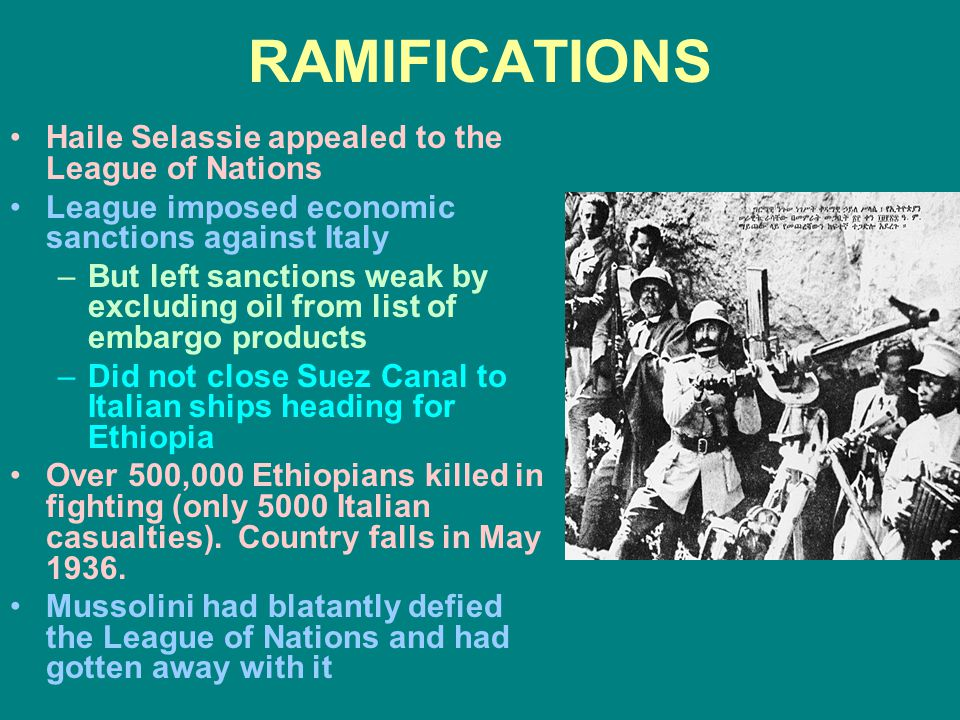 RAMIFICATIONS Haile Selassie appealed to the League of Nations