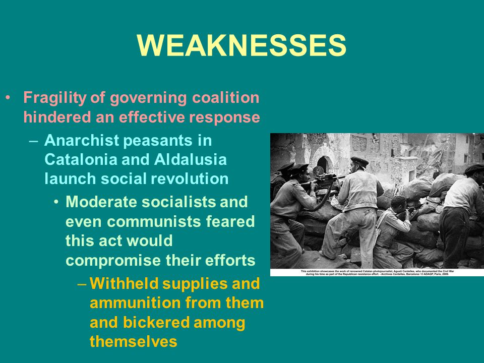 WEAKNESSES Fragility of governing coalition hindered an effective response. Anarchist peasants in Catalonia and Aldalusia launch social revolution.
