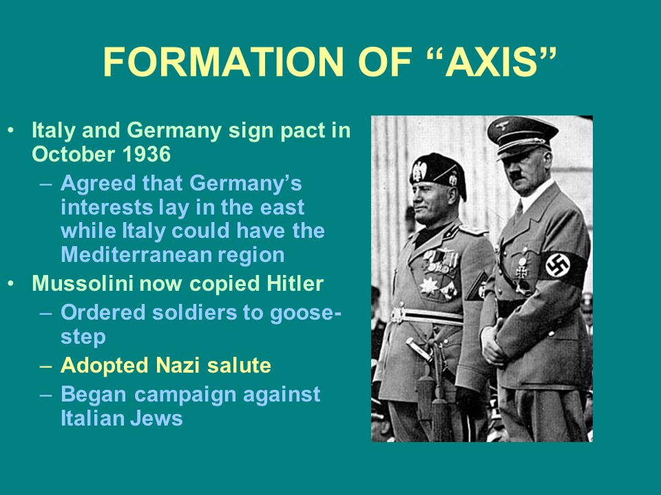 FORMATION OF AXIS Italy and Germany sign pact in October 1936