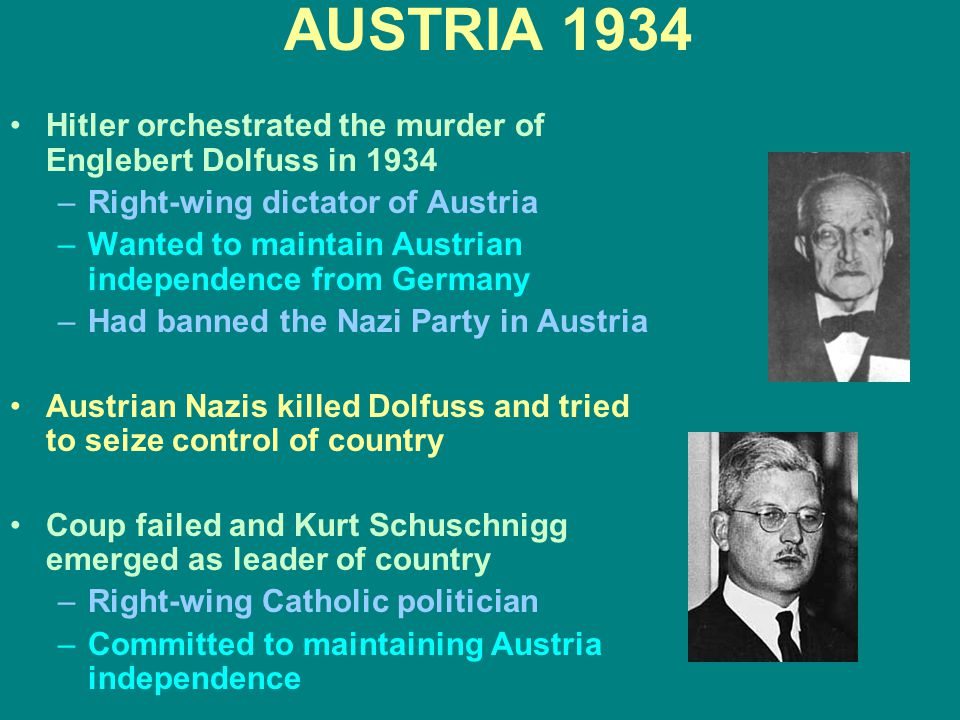 AUSTRIA 1934 Hitler orchestrated the murder of Englebert Dolfuss in 1934. Right-wing dictator of Austria.