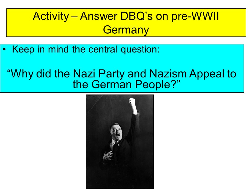Activity – Answer DBQ's on pre-WWII Germany