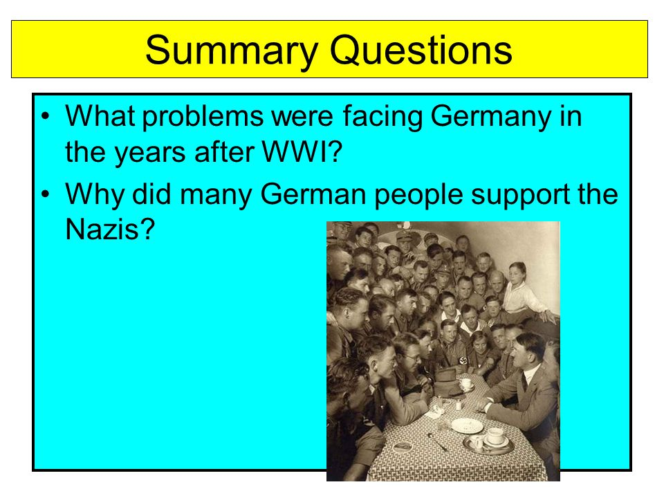 Summary Questions What problems were facing Germany in the years after WWI.