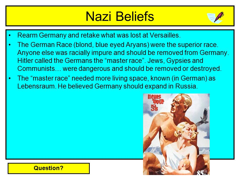 Nazi Beliefs Rearm Germany and retake what was lost at Versailles.