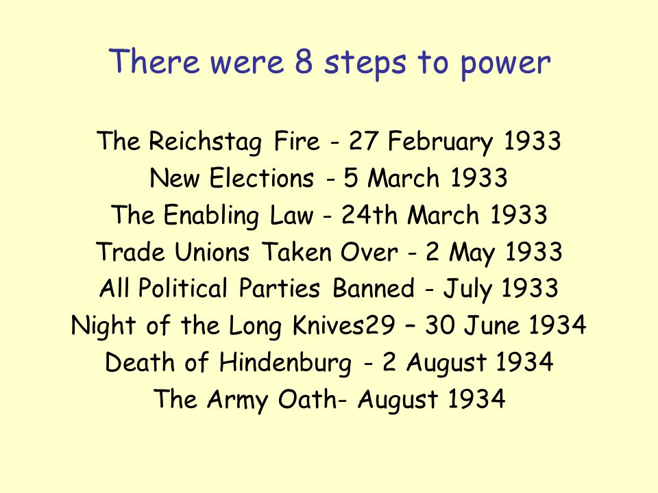 There were 8 steps to power