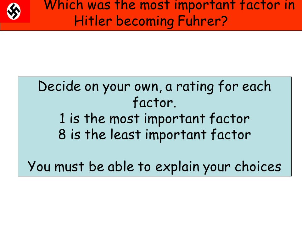 Which was the most important factor in Hitler becoming Fuhrer