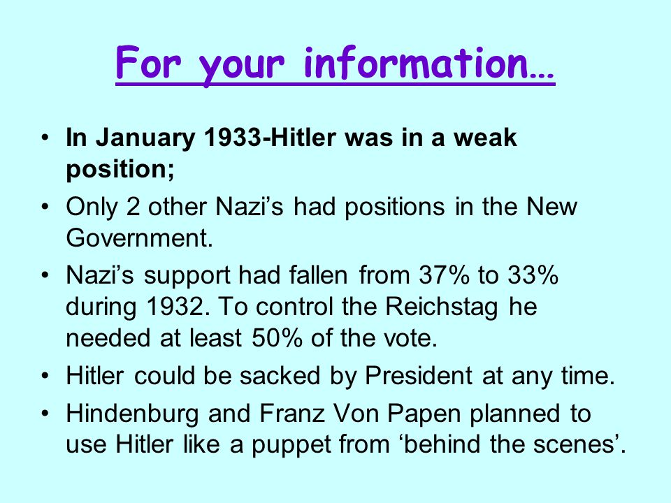 For your information… In January 1933-Hitler was in a weak position;
