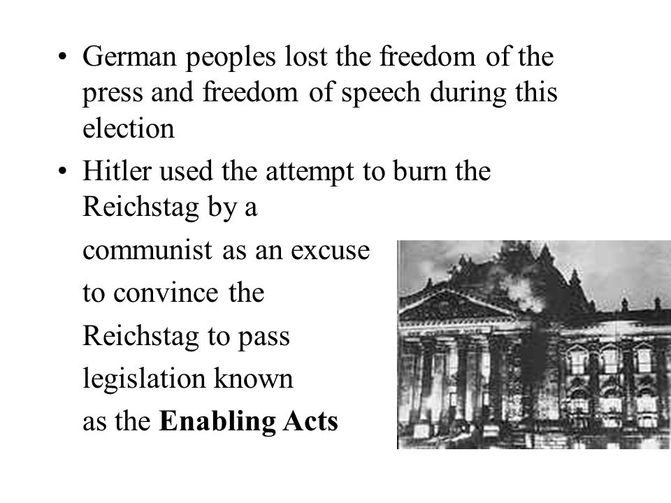 German peoples lost the freedom of the press and freedom of speech during this election