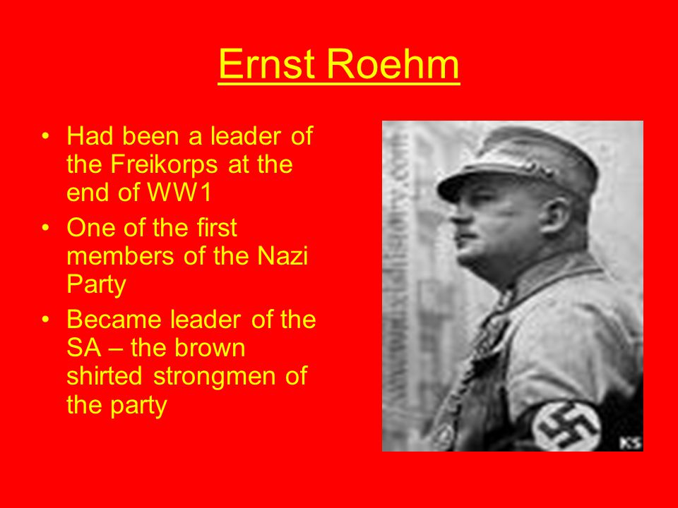 Ernst Roehm Had been a leader of the Freikorps at the end of WW1