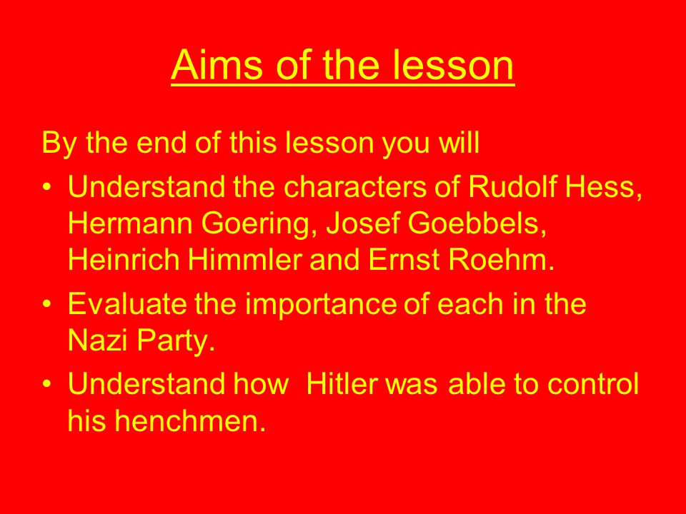 Aims of the lesson By the end of this lesson you will
