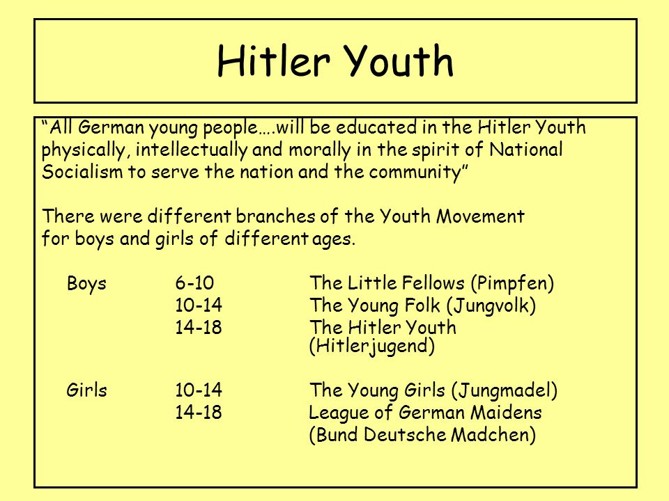 Hitler Youth All German young people….will be educated in the Hitler Youth. physically, intellectually and morally in the spirit of National.
