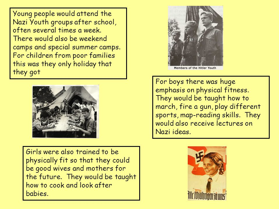 Young people would attend the Nazi Youth groups after school, often several times a week. There would also be weekend camps and special summer camps. For children from poor families this was they only holiday that they got