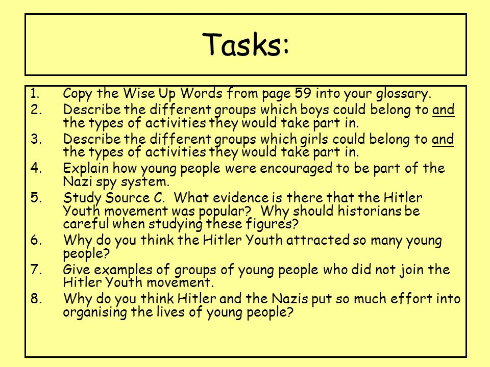 Tasks: Copy the Wise Up Words from page 59 into your glossary.