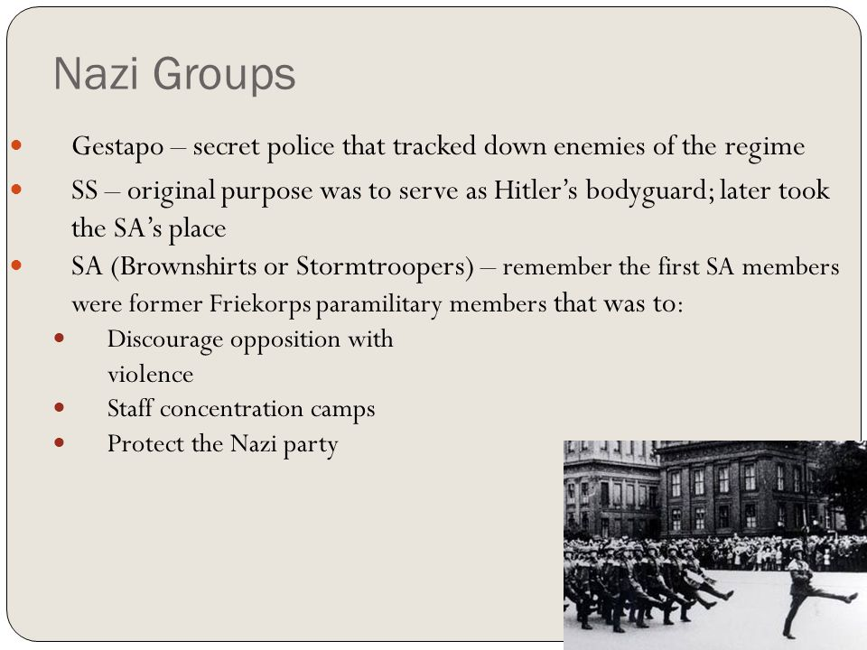 Nazi Groups Gestapo – secret police that tracked down enemies of the regime.