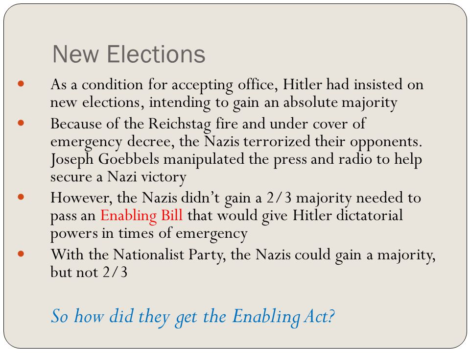 New Elections As a condition for accepting office, Hitler had insisted on new elections, intending to gain an absolute majority.