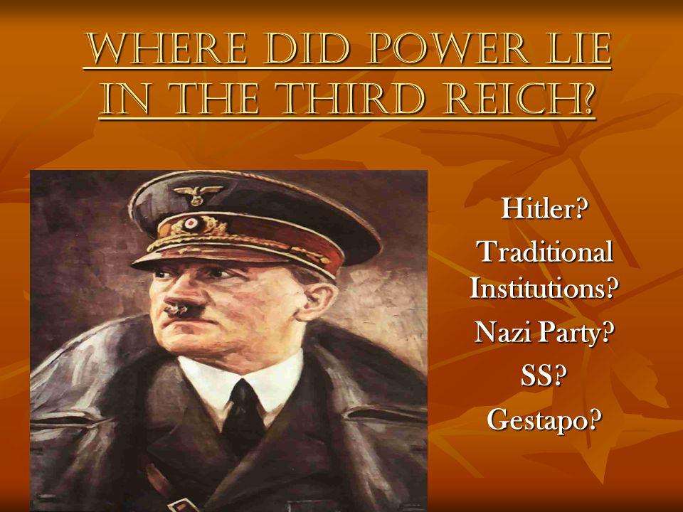 Where did power lie in the Third Reich