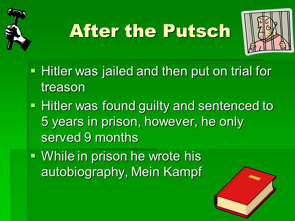 After the Putsch Hitler was jailed and then put on trial for treason