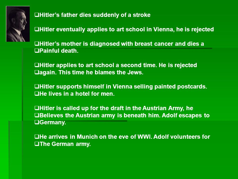 Hitler's father dies suddenly of a stroke