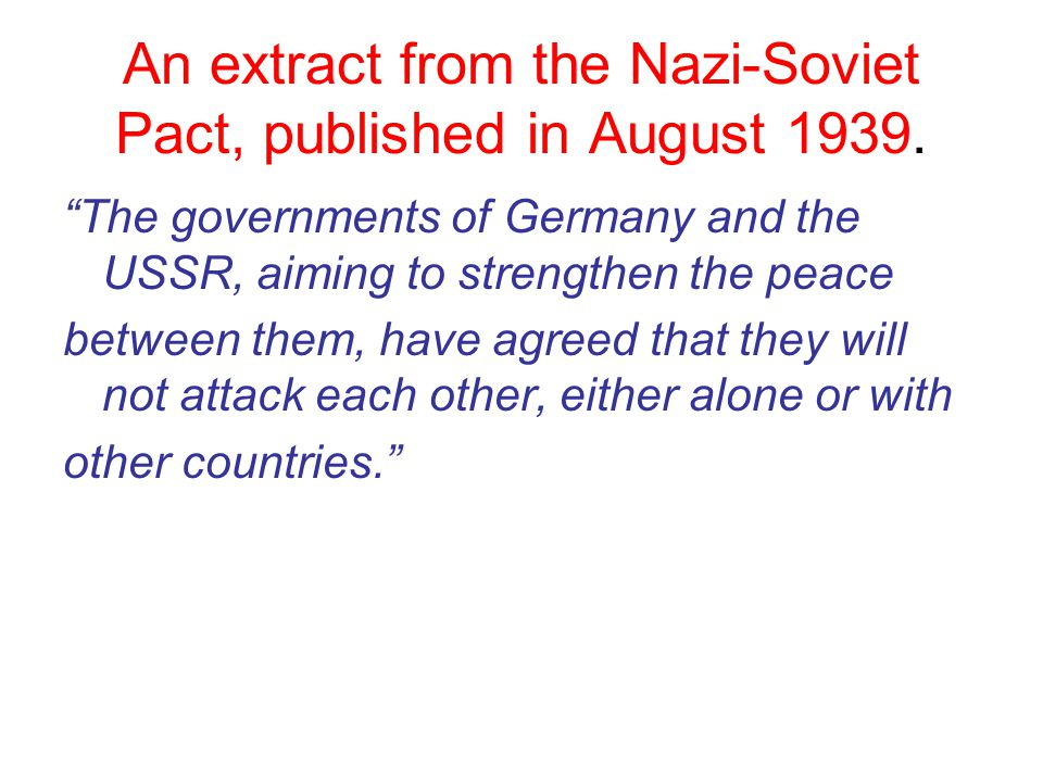 An extract from the Nazi-Soviet Pact, published in August 1939.