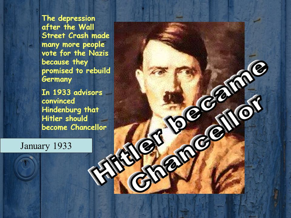 Hitler became Chancellor January 1933