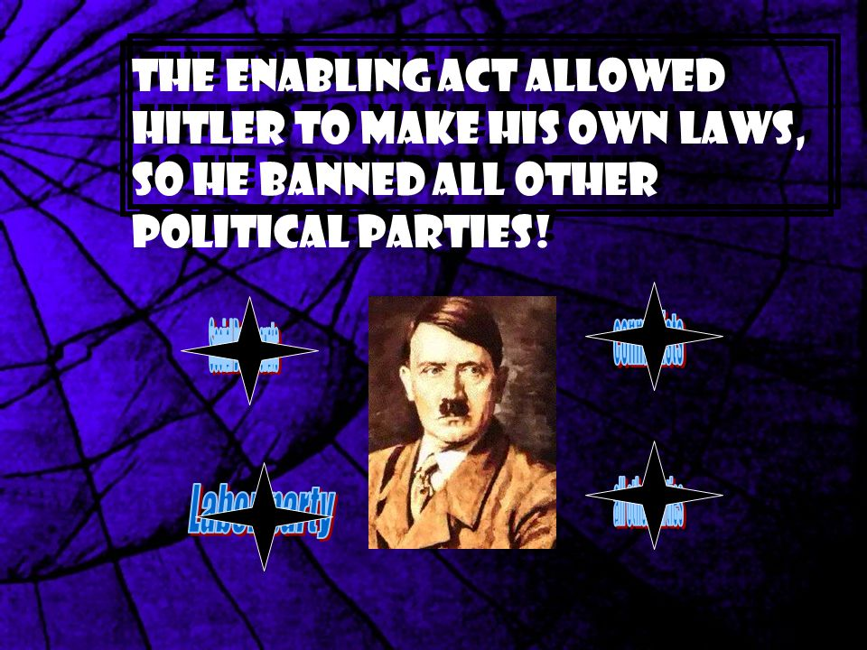 The Enabling Act allowed Hitler to make his own laws, so he banned all other political parties!