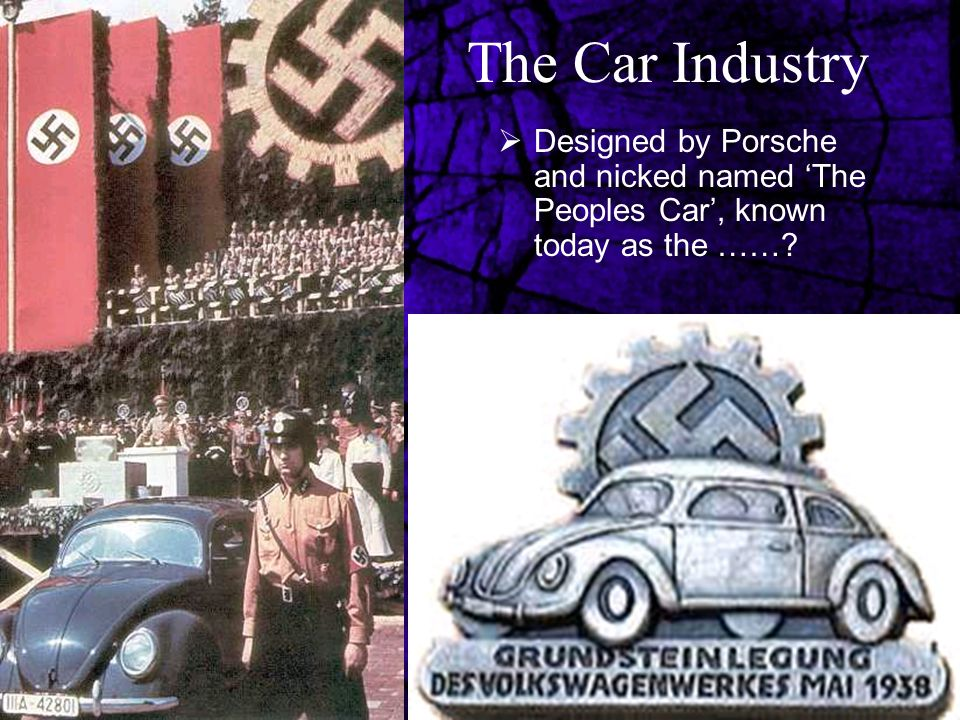 The Car Industry Designed by Porsche and nicked named 'The Peoples Car', known today as the ……