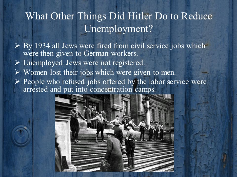 What Other Things Did Hitler Do to Reduce Unemployment