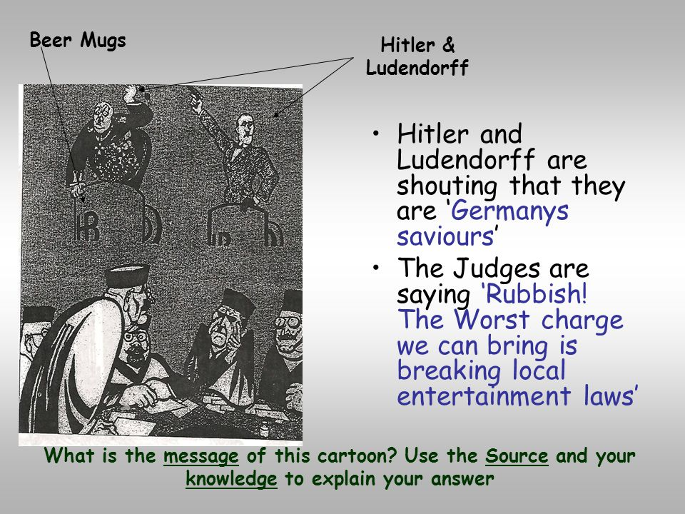 Hitler and Ludendorff are shouting that they are 'Germanys saviours'